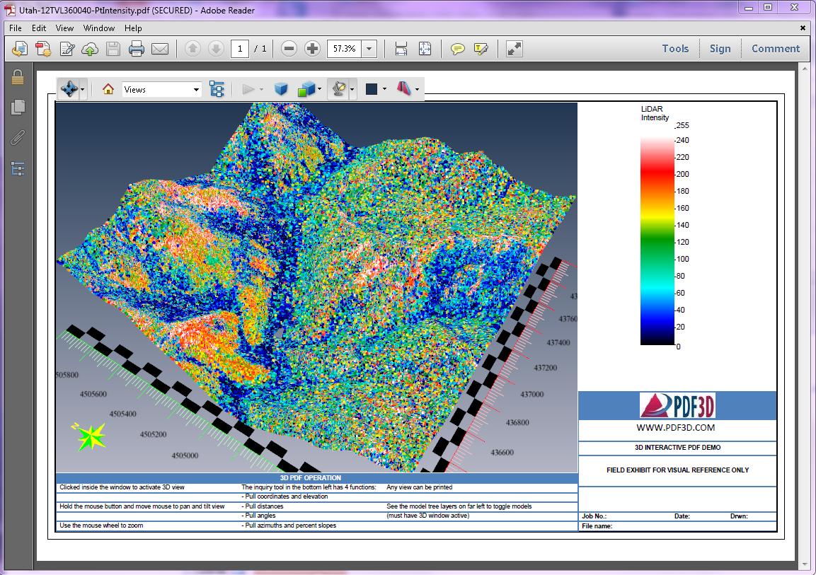 3D PDF PtIntensity Terrain