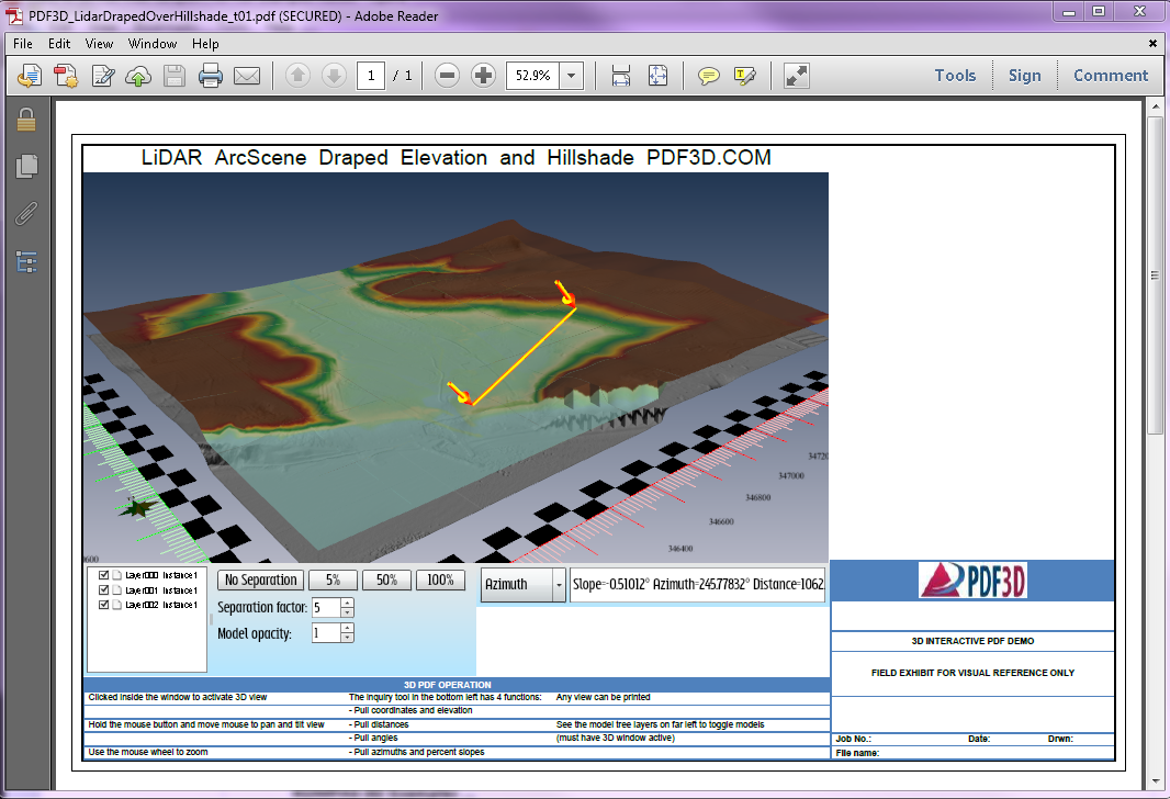 3D PDF LiDAR Elevation Hillside