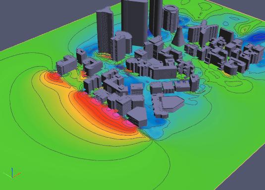 3D PDF Pressure Contours in City