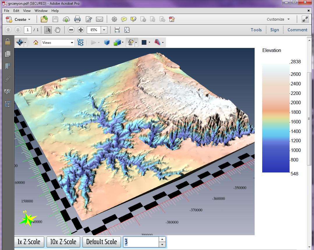 3D PDF of Grand Canyon