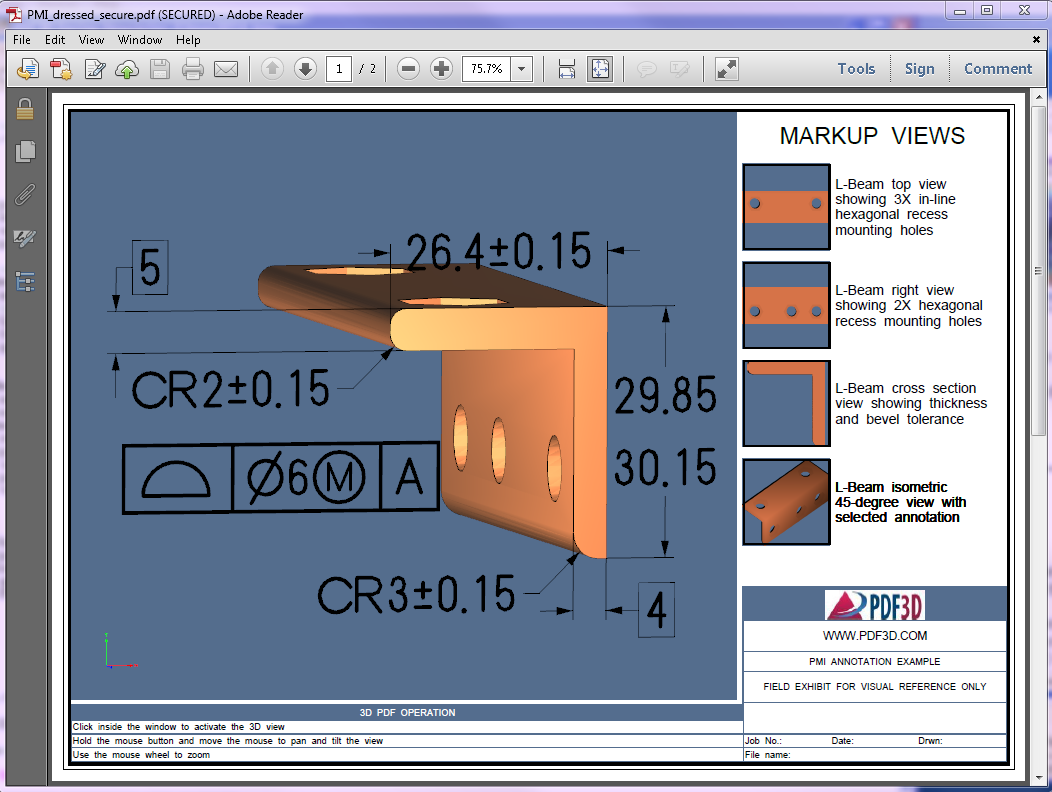PMI annotations in 3d pdf