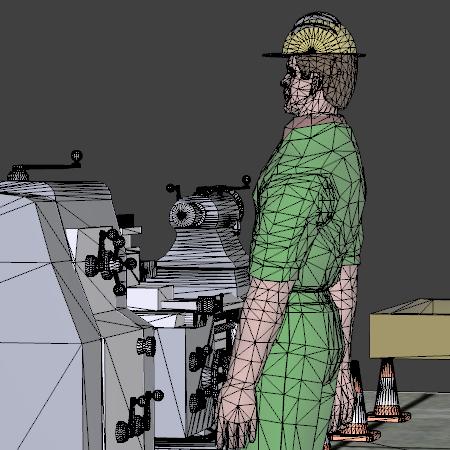 Factory Floor Worker Wireframe PDF3D