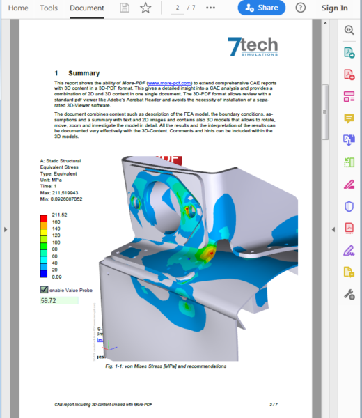 3D-PDF-Example_FEA_Multipage-Report-Screenshot